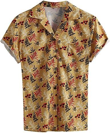 CAOQAO Camisa Hombre Hawaiana Manga Corta Estilo de la Vieja Escuela: Amazon.es: Ropa y accesorios