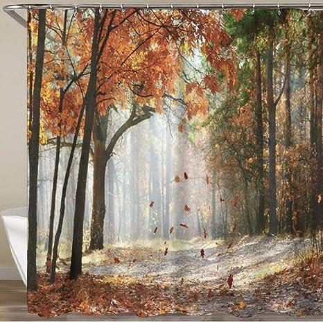 Fall Forest Shower Curtain Autumn Garden Scenic Trees Fallen Leaves Bath Decor