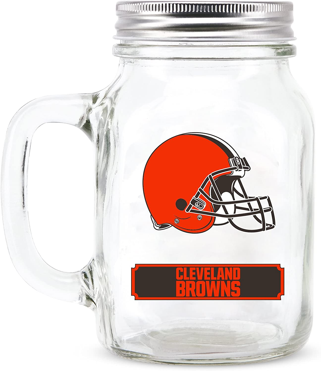Duck House NFL Fan Shop NFL Glass Mason Jar with Handle | Great for Drinking Beverages | Stainless Steel Lid | Food Storage | BPA-Free