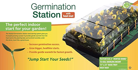 """Hydrofarm CK64050 Germination Station w// Heat Mat//Tray//72 Cell Pack /& 2/"""" Dome"""