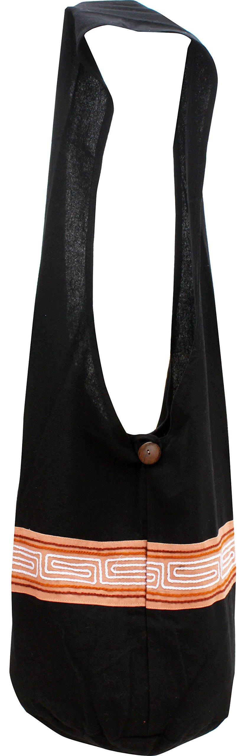 RaanPahMuang Brand Yaam Monks Cotton Shoulder Bag with Chinese Grain Line Motif, X-Large, Black tab Baby Pink