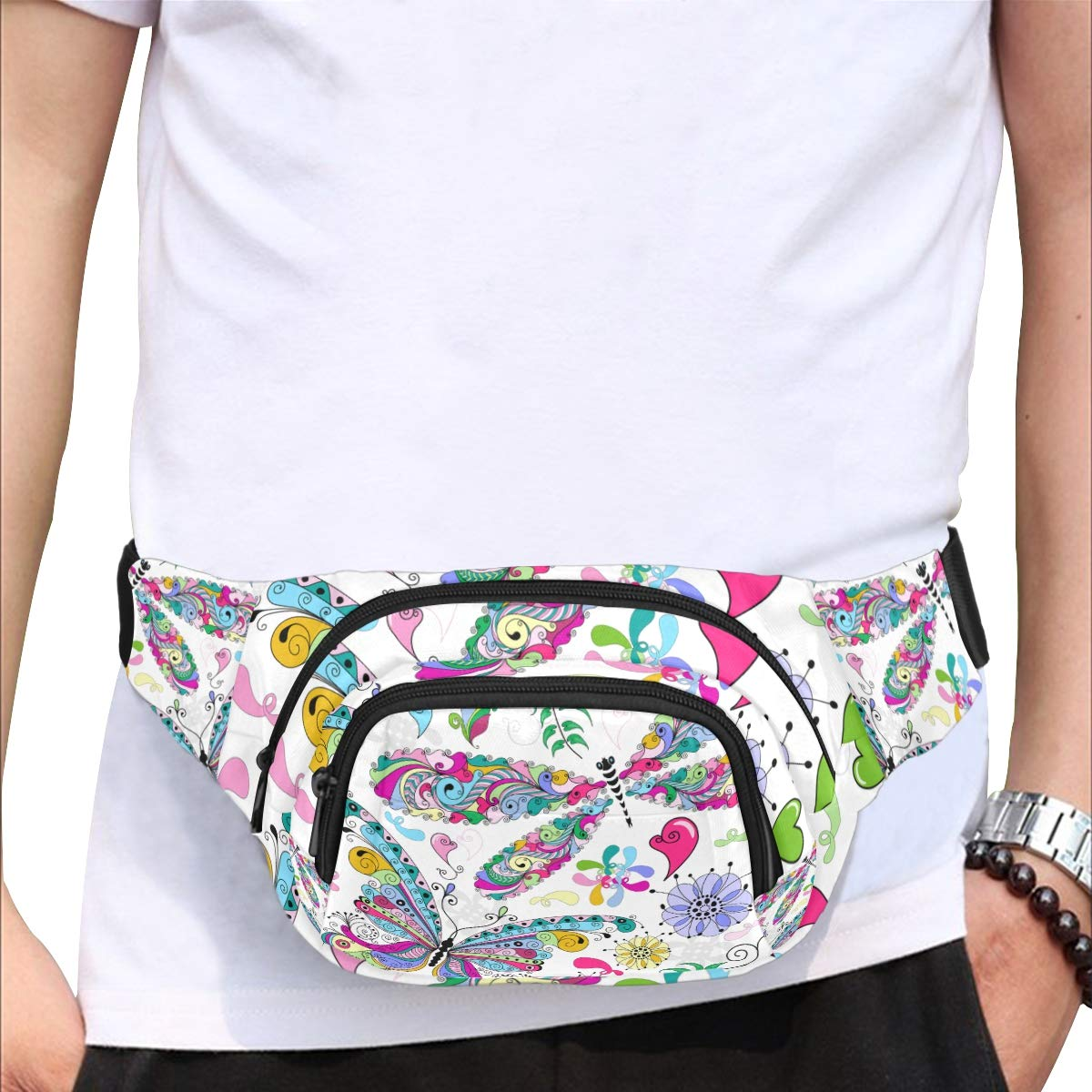 Colorful Butterflies And Flowers Fenny Packs Waist Bags Adjustable Belt Waterproof Nylon Travel Running Sport Vacation Party For Men Women Boys Girls Kids