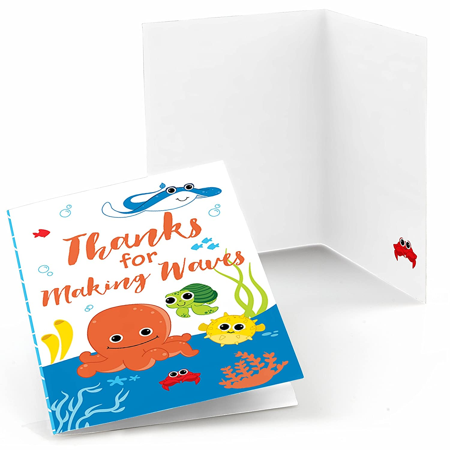 Big Dot of Happiness Under The Sea Critters Birthday Party or Baby Shower Thank You Cards 8 Count