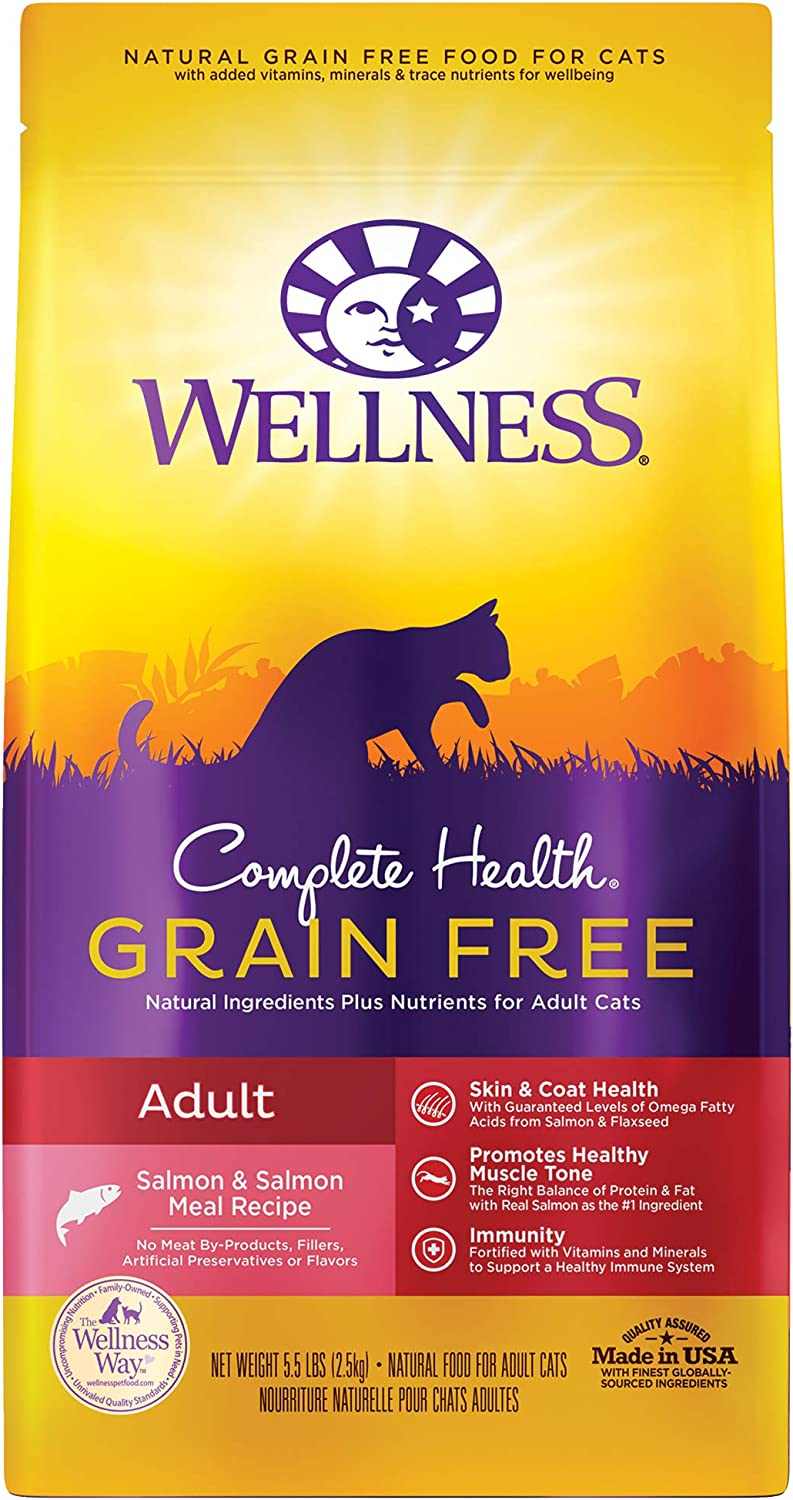 Wellness Natural Pet Food Complete Health Natural Grain Free Adult Salmon Dry Cat Food, 5.5 Pound Bag