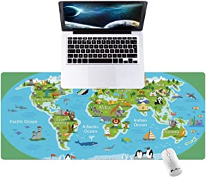 Hunthawk Large Desk Mat, Pretty World Map Mouse Pad, Desktop Home Office School Cute Decor Big Extended Pretty Desk Pad for Gaming Laptop Computer Accessories 35.4
