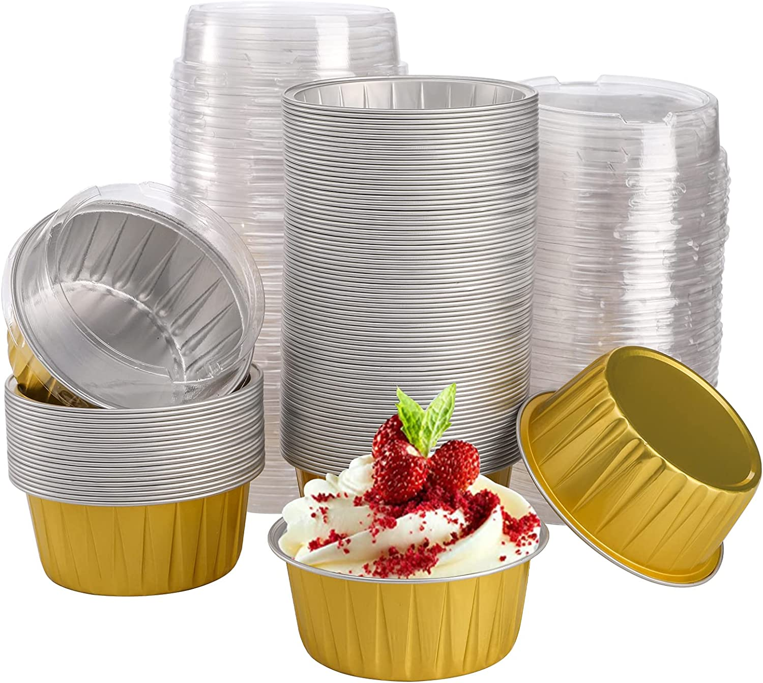 DEAYOU 100 Pieces Aluminum Foil Muffin Cupcake Ramekins, 5oz Cupcake Liners with Lids, 3 Inch Mini Tart Tins Pans Baking Cups Holder for Souffle, Pudding, Parties, Wedding, Gold