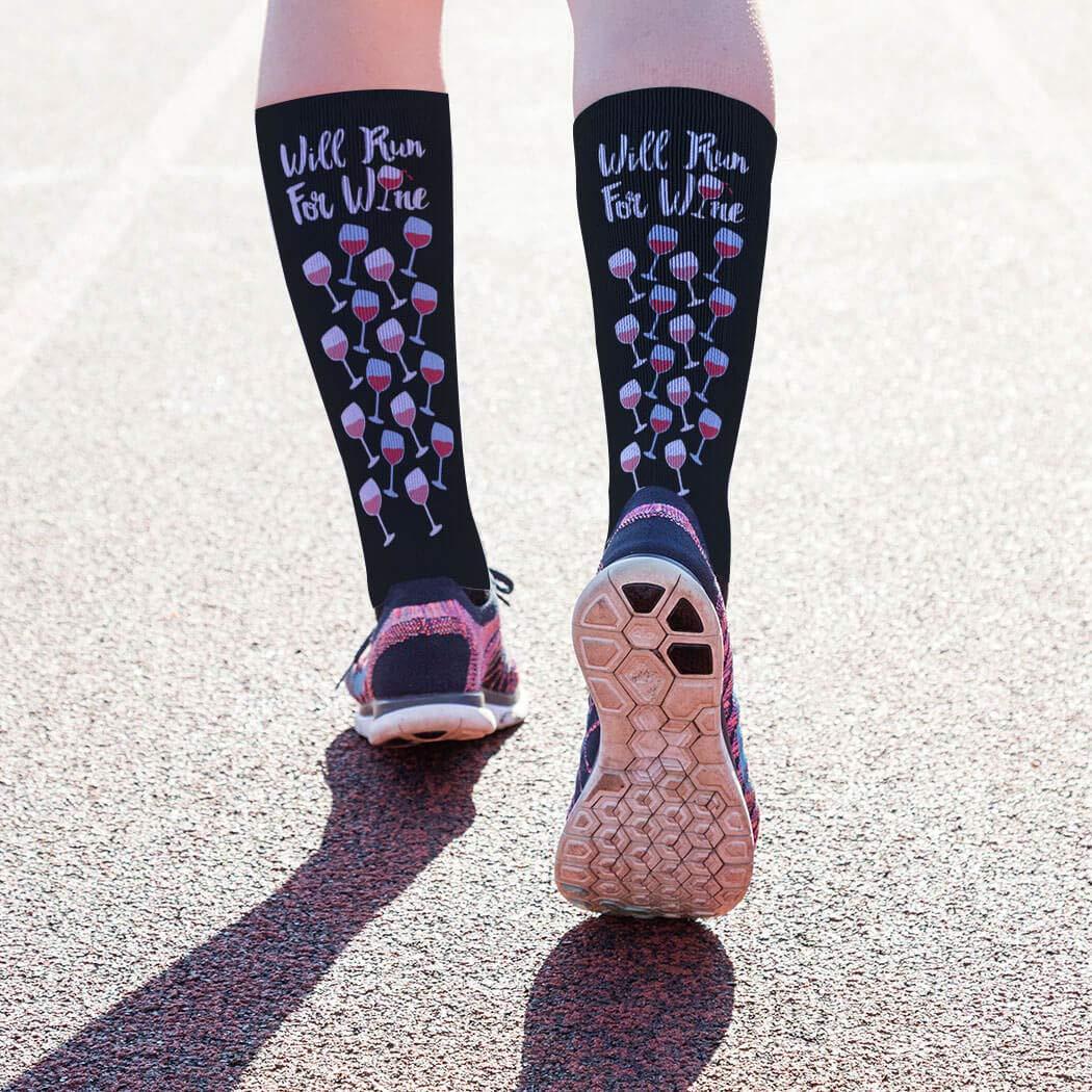 90d2c96b2c8 Amazon.com  Will Run For Wine (Deco) Printed Mid Calf Socks ...