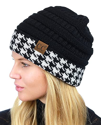1220453d29c C.C Cable Knit Soft Stretch Multicolor Houndstooth Stitch Cuff Skully Beanie  Hat