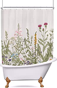 Riyidecor Green Leaves Clawfoot Tub Shower Curtain 180Wx70H Inch Wrap All Around Floral Flower Extra Wide Tulip Plants Ivy Herbs Decor Bathroom Polyester Waterproof Metal Hooks 32 Pack