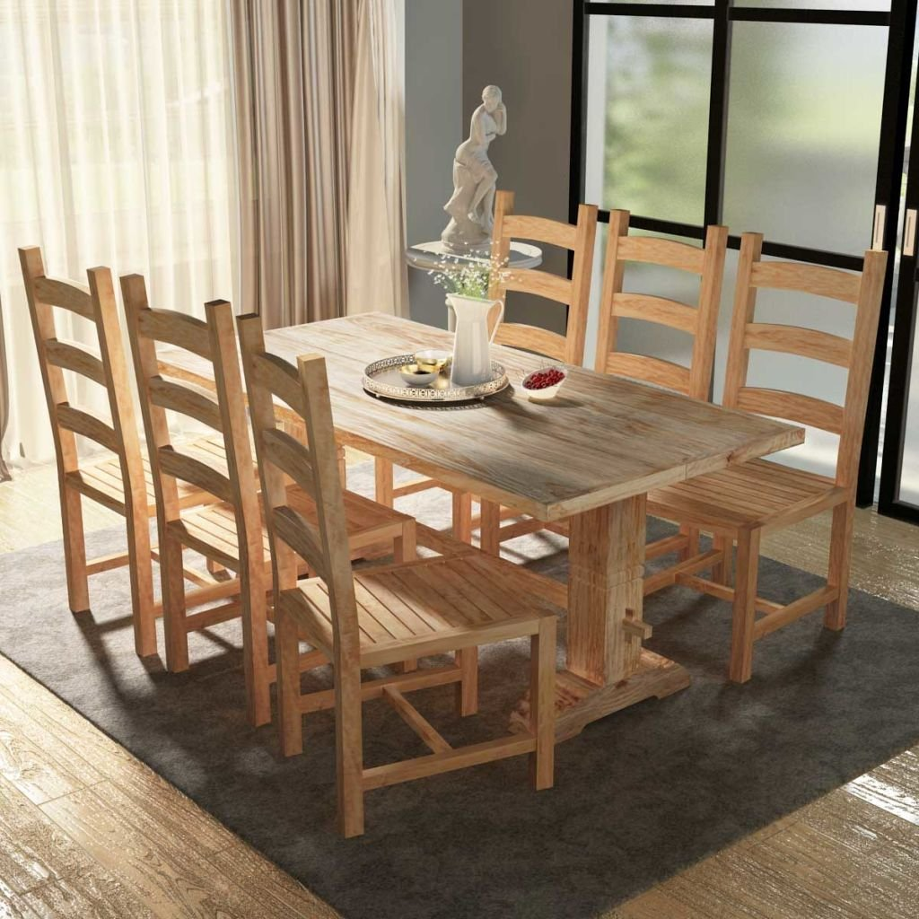 Lingjiushopping 7 pieces big table and chairs dining room set in teak material 100 teak wood with finish bleached table size 180 x 80 x 75 cm l x w x h
