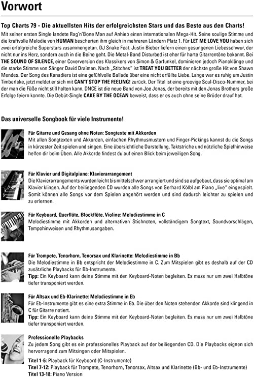 A partir de 23.11.16 disponible: Top Charts 79 + CD Justin Bieber, de Disturbed, Cantante Justin Timberlake, Shawn Mendes: Amazon.es: Instrumentos musicales
