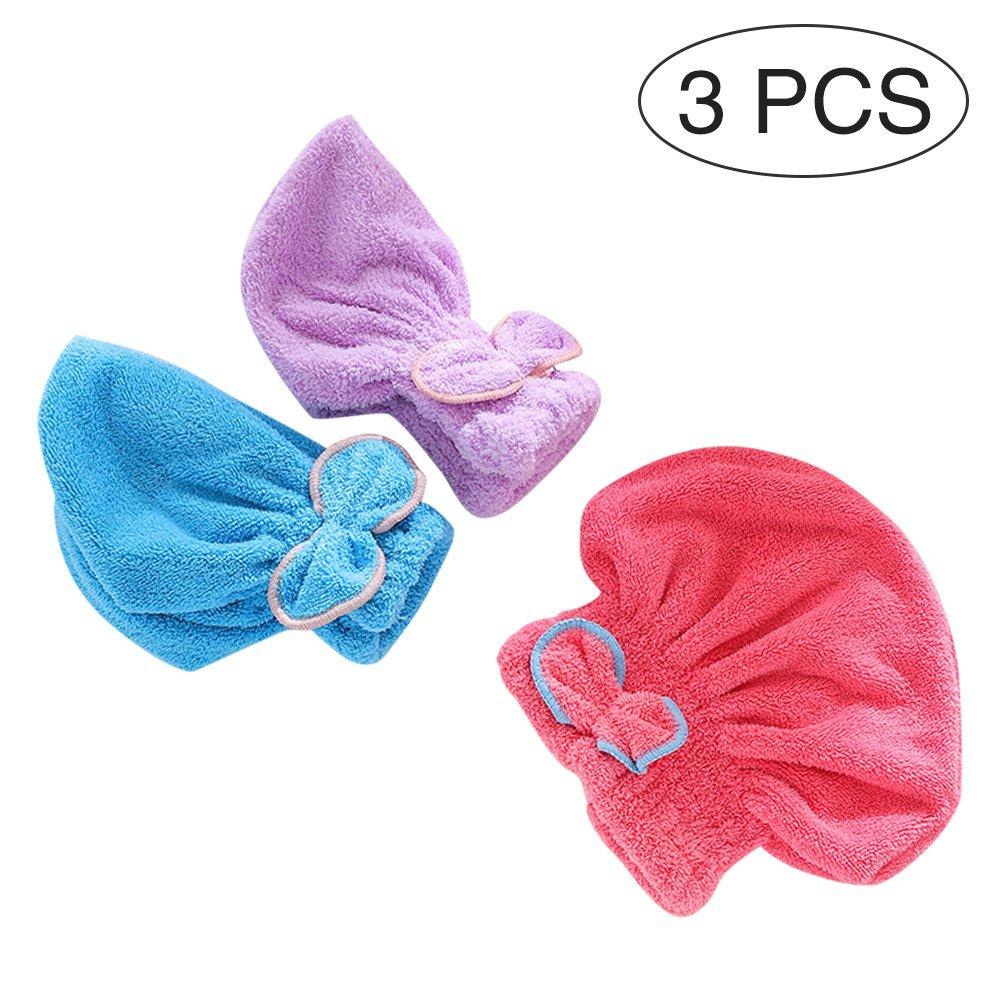 Frcolor - 3 gorro de pelo seco de microfibra, tapas de turbante absorbentes, toallas de bañ o (color al azar) toallas de baño (color al azar)