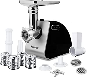 Nictemaw 9-in-1 Electric Food Meat Grinder Heavy Duty Multi-function Meat Mincer Sausage Stuffer with Slicer&Shredder kit for making salad, Home Use, 2000W