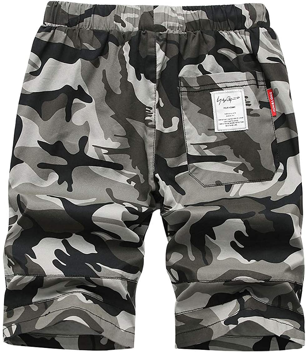 YoungSoul Boys Elastic Waist Camouflage Shorts Knee Length