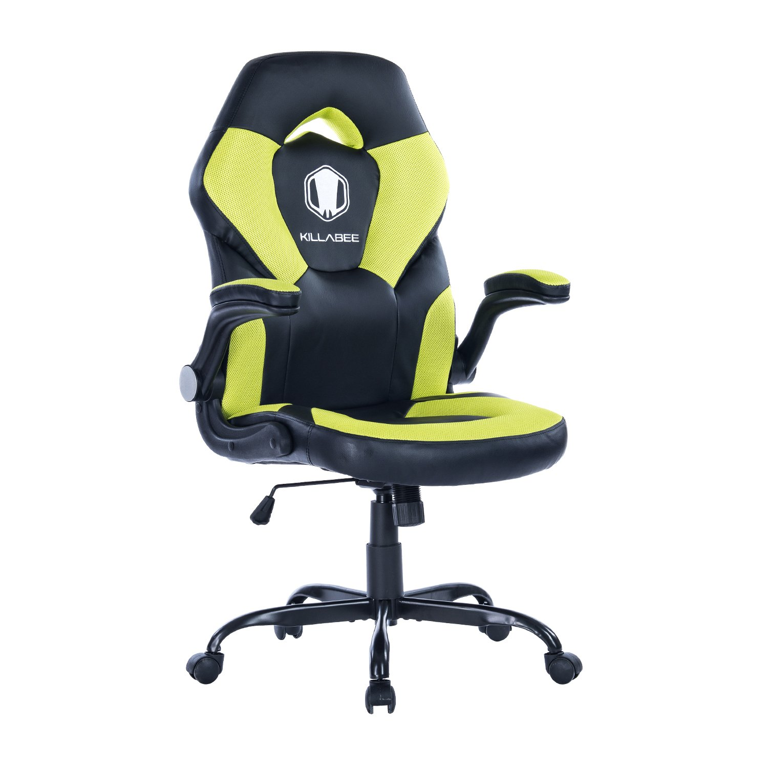 KILLABEE Racing Style Gaming Chair Flip-Up Arms - Ergonomic Leather & Mesh Computer Desk Office Chair, Green & Black