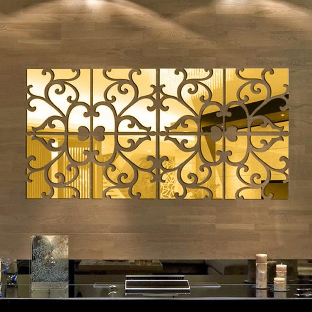 Iusun Fashion Removable 3D Acrylic Mirror Wall Sticker Home Decor (Gold)