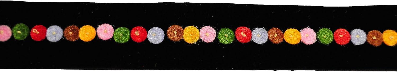 Altotux 0.75 Black Velvet Ribbon with Felt Colorful Circles DIY Trim by Yard