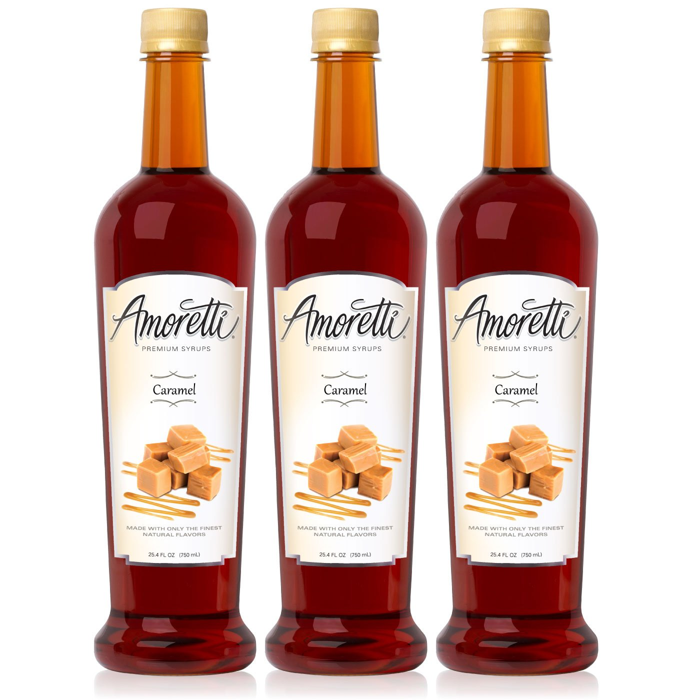 Amoretti Premium Caramel Syrup 750ml 3 Pack
