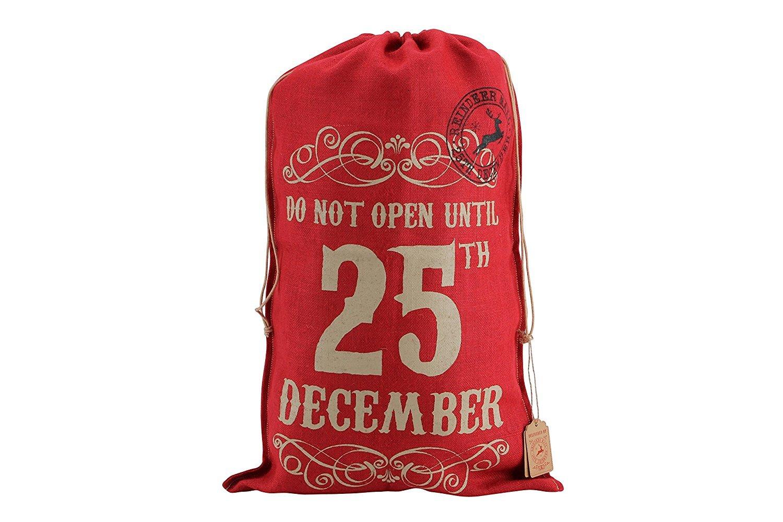 'Do Not Open Until 25Th December' Red Hessian Sack-CGBDART925B Luck and Luck UKASNHKTN9966
