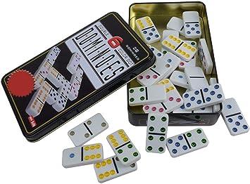 EMCEURO Juego de Domino Doble 6 DE Colores 28 fichas + Caja Metal Dominoes: Amazon.es: Juguetes y juegos