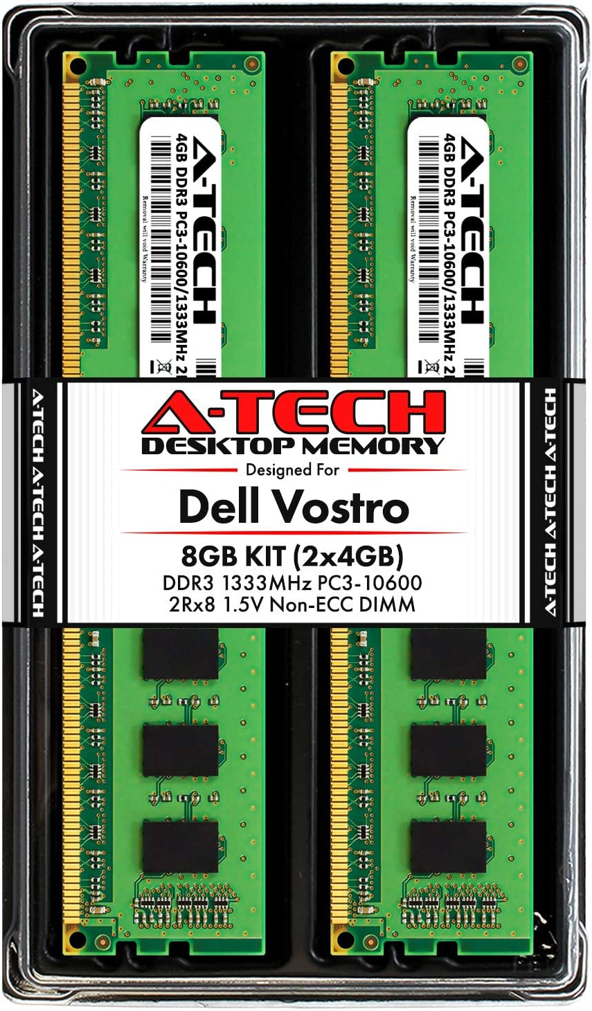 A-Tech 8GB (2 x 4GB) RAM for Dell Vostro 460, 430, 260, 260s | DDR3 1333MHz PC3-10600 240-Pin Non-ECC DIMM Memory Upgrade Kit