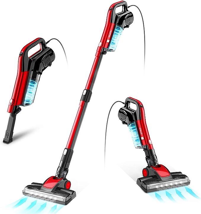 Amazon.com - GeeMo Vacuum Cleaner, 4 in 1 Stick Vacuum 17Kpa Powerful Suction, with LED Electric Brush 1.2L High-Capacity Quiet Vacuum, with HEPA Quadruple Filter for Deep Clean Pet Hair Carpet Hard Floor - H595 -
