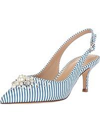 The Fix Women's Felicia Slingback Kitten Heel Pump with Faux Pearls