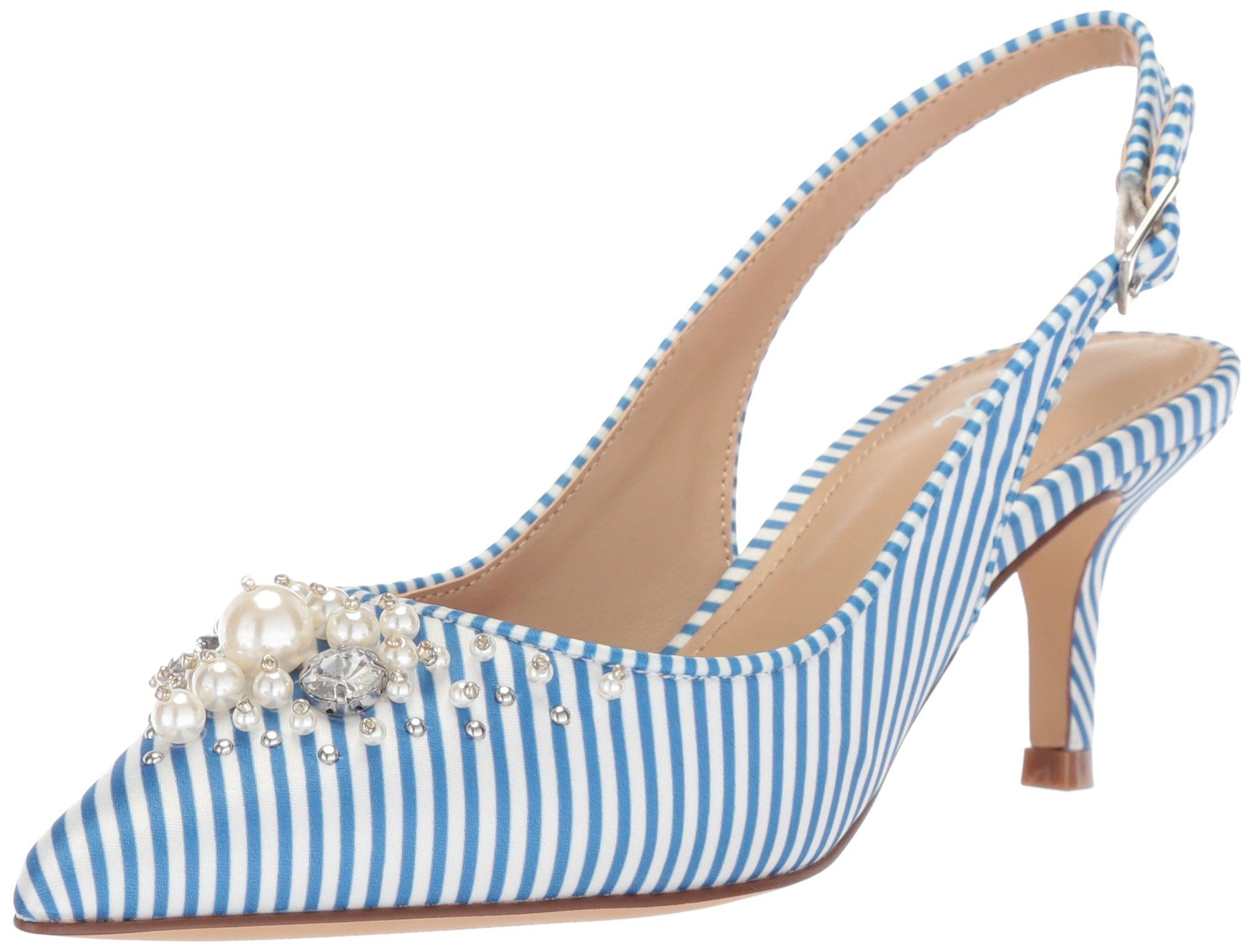 The Fix Women's Felicia Slingback Kitten Heel Pump with Pearls, Cielo Blue Stripe Satin, 9 B US