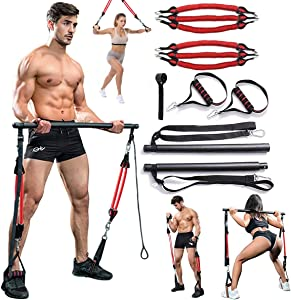 VWMYQ 60-180LBS Adjustable Pilates Toning Bar Kit, with Anti-Break Resistance Bands, Door Anchor, Full Body Dynamic Workout, Home Portable Gym