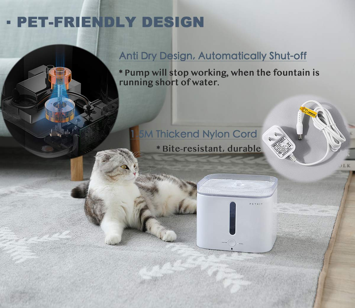 PETKIT EVERSWEET Cat Water Fountain 2.0, 2L Automatic Pet Water Fountain for Dog and Cat Super Quiet with Water-Shortage Alert and Filter-Change Reminder, Auto Power-Off Pet Water Dispenser by PETKIT (Image #7)