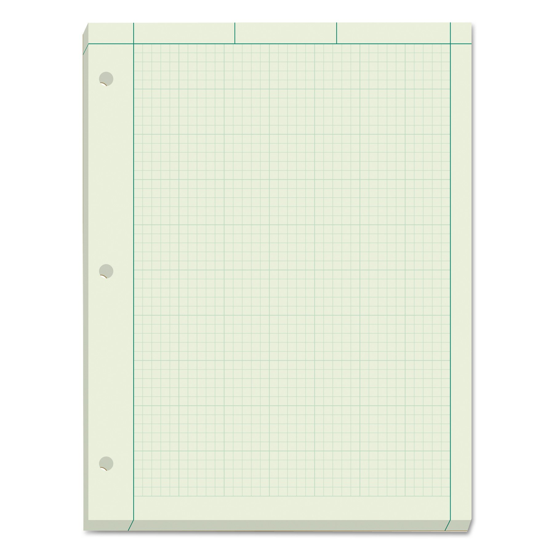 TOPS Engineering Computation Pad, 8-1/2'' x 11'', Glue Top, 5 x 5 Graph Rule on Back, Green Tint Paper, 3-Hole Punched, 200 Sheets (35502)