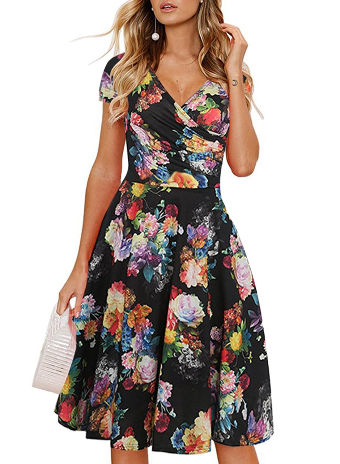 Ranphee Women Floral Casual Work Dresses V-Neck Cap Sleeve Knee Length Cotton Dress