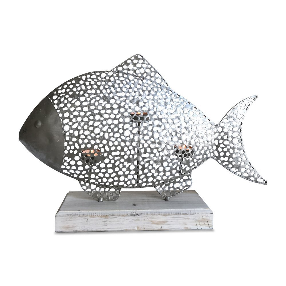 Whole House Worlds Cape Cod Fish Candle Holder Candelabra, Coastal Style,Driftwood Gray Wood Base, Hand Cast Silver Aluminum, For 3 Tea Light Candles, 21¾ L x 4¾ W x 13¾ H Inches, By WHW
