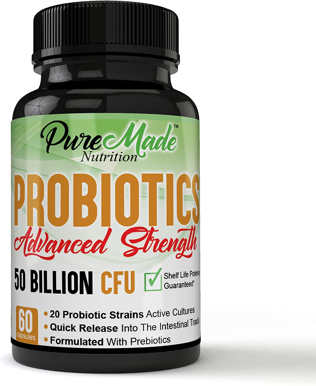 Advanced Strength, Quick Release, Formulated with Prebiotics, Probiotics 50 Billion CFU, Scientific Based 20 Strains Active Cultures, Premium Digestive Support & Relief