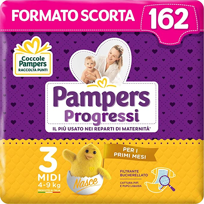 Pampers Progressi Midi, 162 Pannolini, Taglia 3 (4-9 Kg)