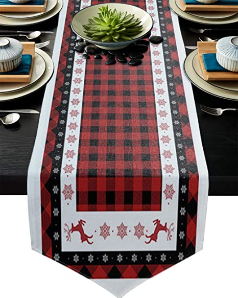 Amazon Com Cotton Linen Table Runner Snowflake Elk Red Black Buffalo Check 13x120 Inch Burlap Runners For Dining Farmhouse Party Wedding Outdoor Picnics Kitchen Decor Home
