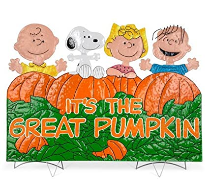 its the great pumpkin charlie brown metal outdoor halloween decoration