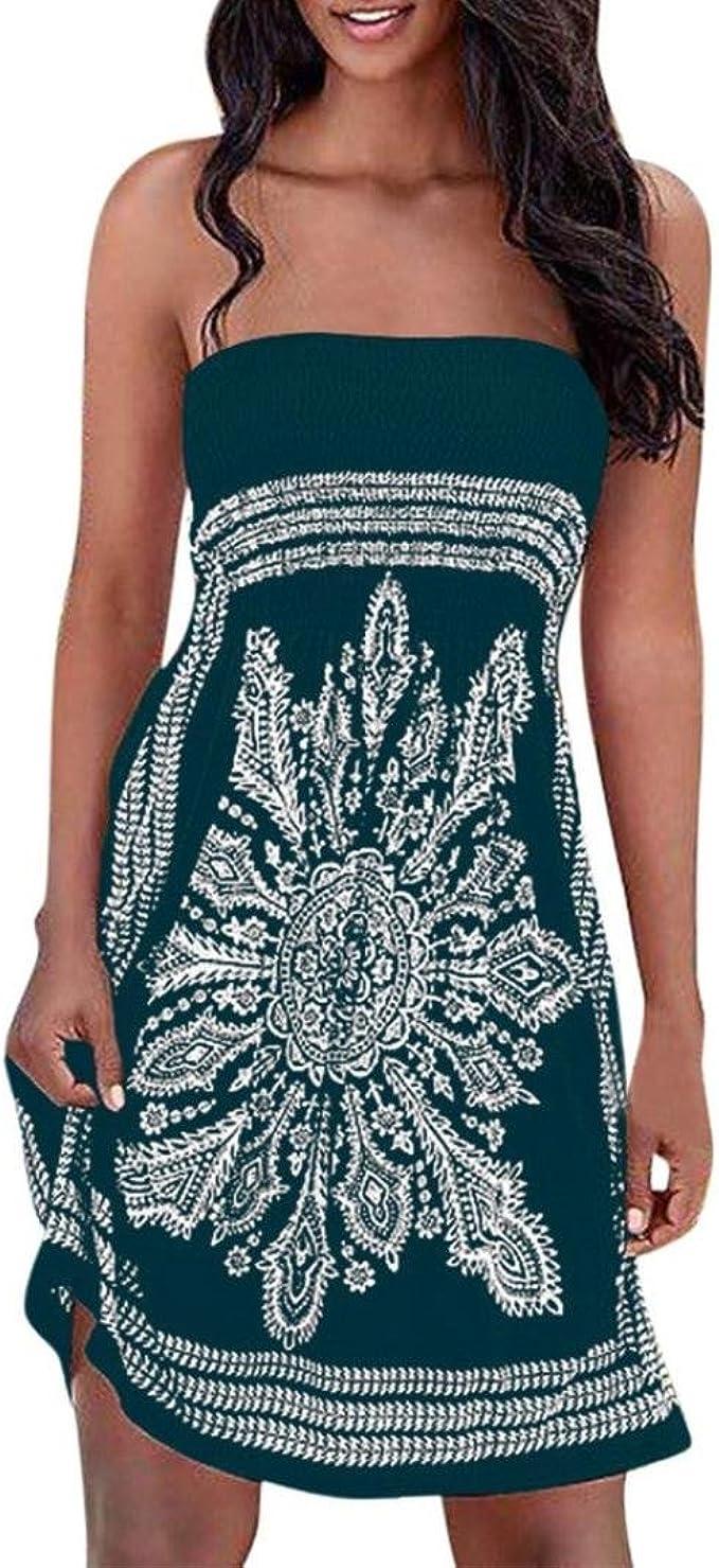 LuckyGirls Sommerkleider Damen Bandeau Kleid Strand Abendkleid Schulterfrei  Kleid ärmelloses Kleid Strandkleider