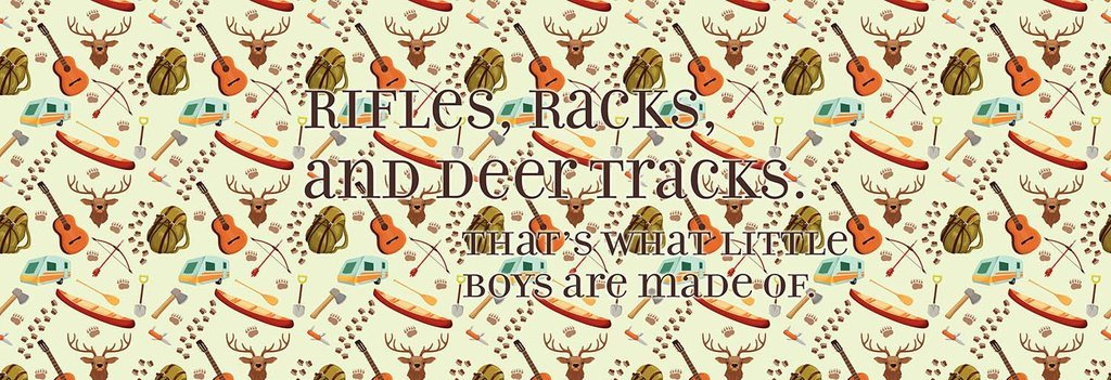 Rifles, Racks and Deer Tracks - That What Little Boys Are Made Of. Camping - Deer head, buck, gun, bow and arrows Bed Runner Scarf Twin/Full/Queen/King Size