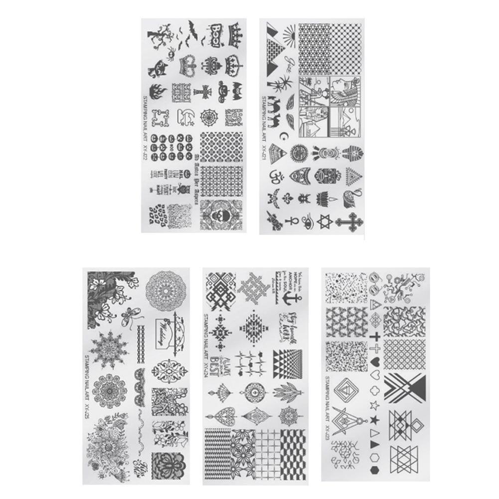 Nail Stamping Plaque Nail Art Tampon Stamping Plaques Modèle Nature Printemps 5 Feuilles Ongle Pochoir Feuille Manucure Modèles d'image Imprimer Nail Art DIY Assiettes (XY-J21 - XY-J25) X 1 Naisicatar