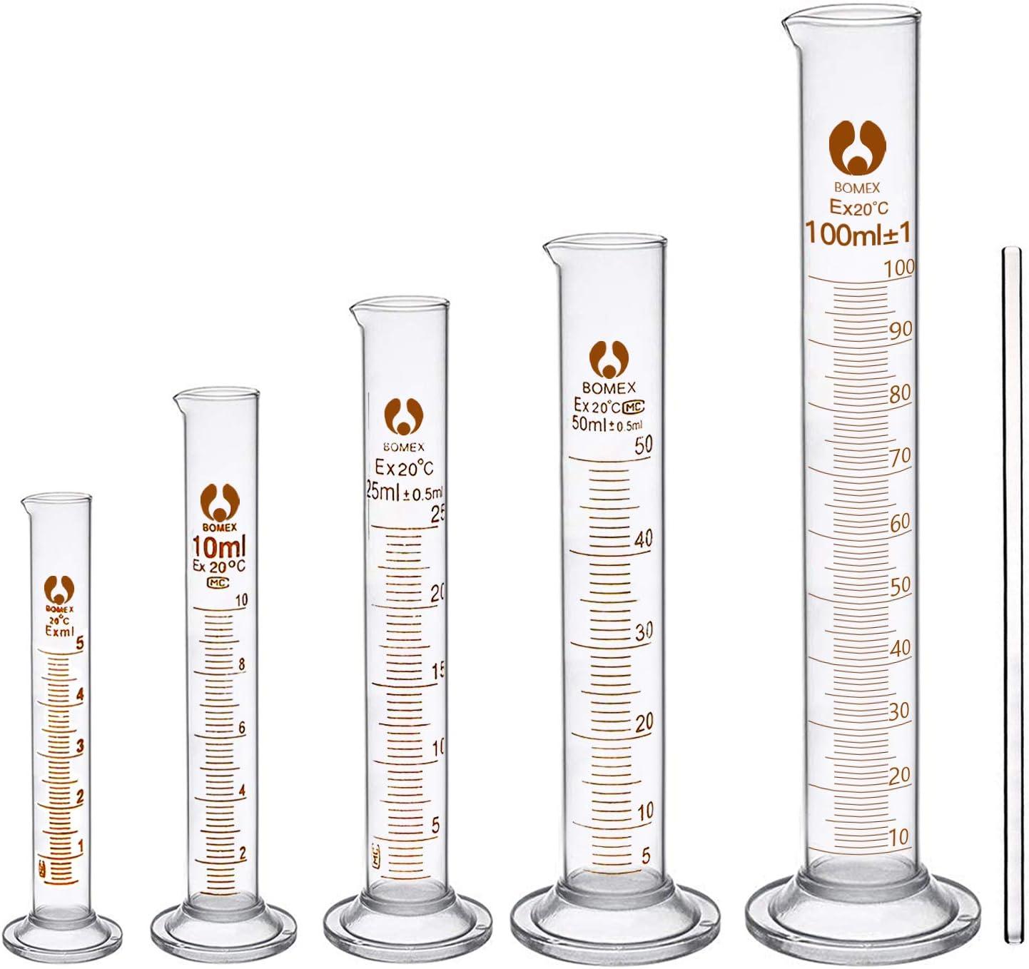 cococity Cilindro de Medición Laboratorio, 5pcs Cilindro Graduado de Medición, Vaso Cilindro Graduado Vídrio con 1 Barra para Escuela Experimento Precisión (5 10 25 50 100ml)
