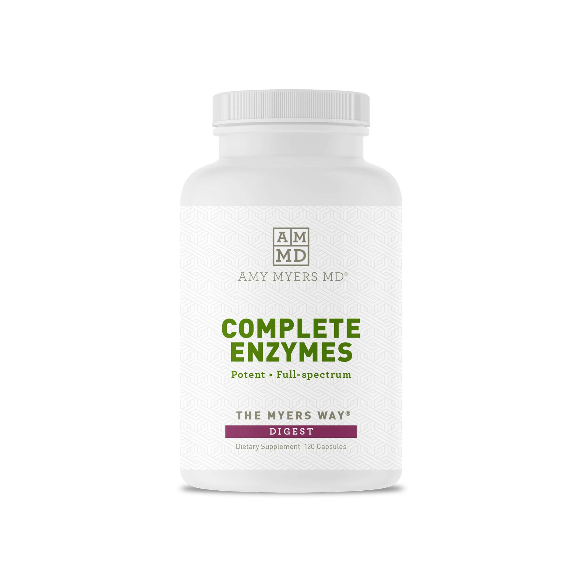 Dr. Amy Myers Digestive Enzymes - 19 Enzymes to Support IBS, Leaky Gut, Bloating, Constipation, Gluten Exposure - Amylase, Lactase, Lipase, Alkaline Protease, Sucrase + More - 120 Vegetarian Capsules by Amy Myers, MD