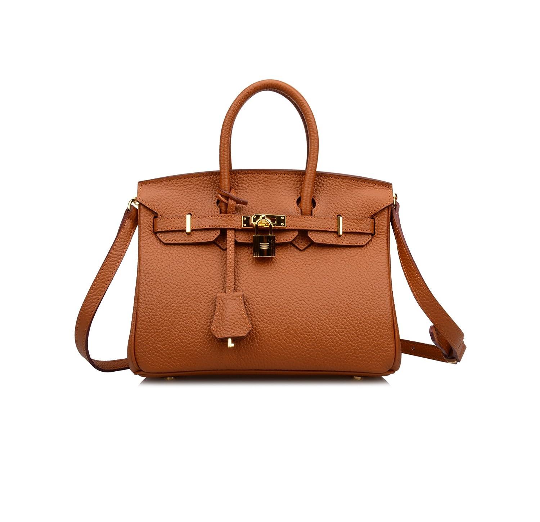 Ainifeel Women s Genuine Leather 25cm Padlock Shoulder Handbag Hobo Bag  Bamboo Green) b73a700cdd634