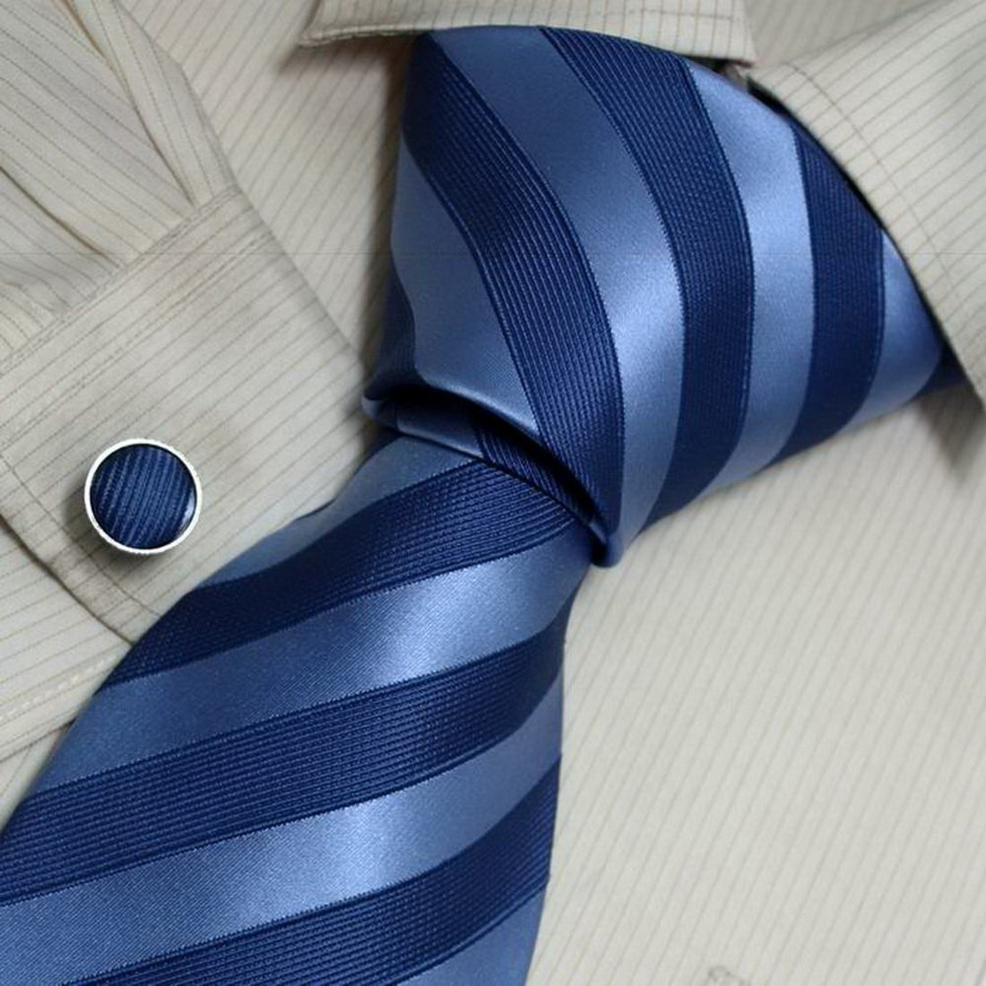 8117 Navy Striped The Future Silk Ties Cufflinks Present Box Set By Y&G by Y&G (Image #2)