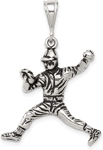 Baseball Player Throwing Ball Pendant In Antiqued 925 Sterling Silver 25x23mm