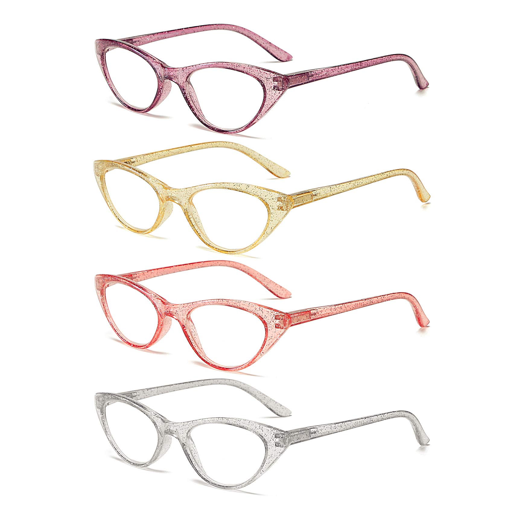 Reading Glasses by 100 CLASSIC 4 Pack Quality Fashion Colorful Readers for Women 2.00 by 100 CLASSIC
