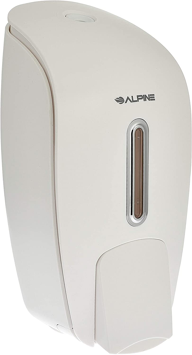Alpine Industries Liquid Soap & Hand Sanitizer Dispenser, Surface Mounted, 800 ml Capacity (White)