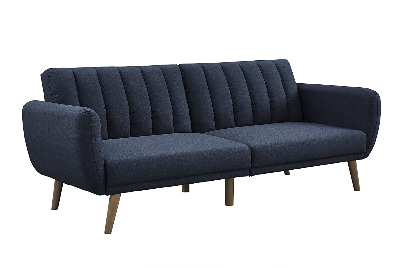 amazoncom novogratz brittany sofa futon premium linen upholstery and wooden legs blue linen kitchen u0026 dining