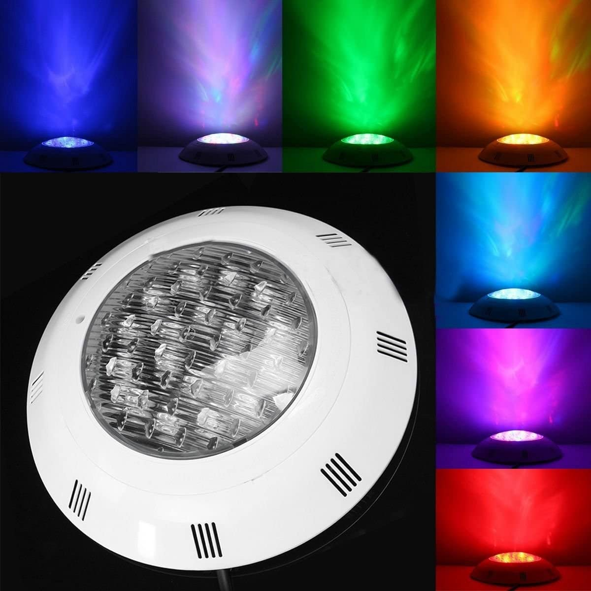 TOOGOO 7 colores 24V 18W LED RGB Luz brillante de piscina subacuatica/Control remoto