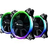 【3個セット】AMZtronics 12cm RGBカラー 超静音ケースファン LEDリングを装着した水冷ラジエーターファン 12v